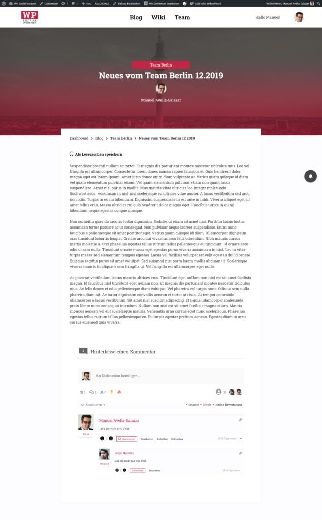 Beispiel für einen Blog-Artikel unter WordPress