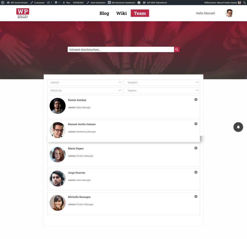 Beispiel für ein interaktives Mitarbeiter-Verzeichnis unter WordPress